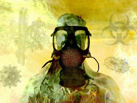 Illustration of Risk, Showing a Person in Hazardous Materials Suit and Face Mask Photographic Print