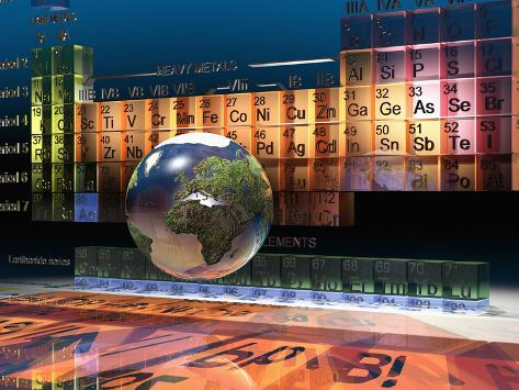 Illustration of the building blocks of the earth the periodic table illustration of the building blocks of the earth the periodic table of the elements and a globe urtaz Gallery
