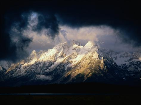 Storm Clouds Over Snow-Capped Mountain, Grand Teton National Park, USA Photographic Print
