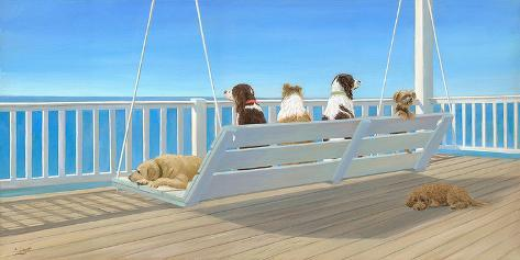 Tails on a Porch Swing Art Print