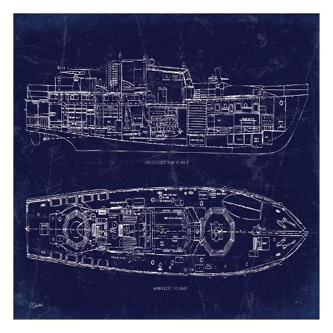 Boat blueprint 1 posters by carole stevens by allposters boat blueprint 1 malvernweather Choice Image