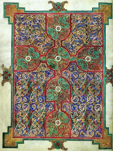 Carpet Page from the Lindisfarne Gospels, Around 698-700, Design in the Shape of a Cross Giclee Print
