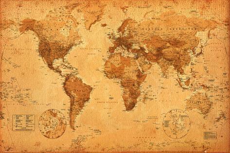 Carta geografica mondiale Poster