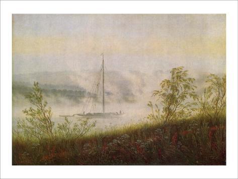 Elbe Skiff in the Morning Mist Giclee Print