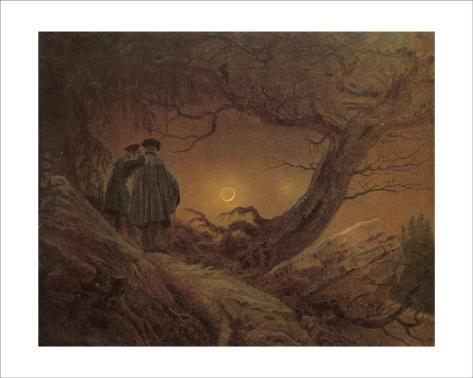 Two Man Contemplating the Moon Giclee Print