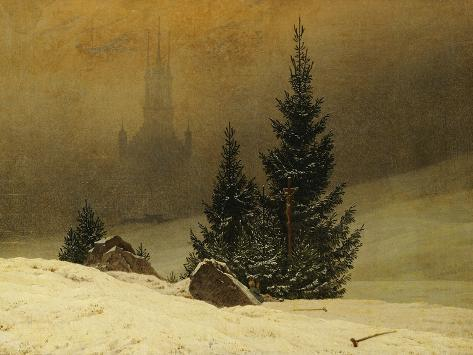 Winter Landscape with a Church Giclee Print
