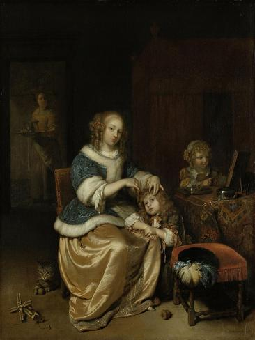 Mother Combing Childs Hair, known as Maternal Care Art Print