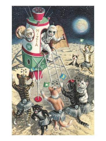 Cat Astronauts Landing on Female Cat Planet Art Print