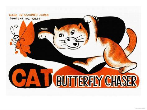 Cat Butterfly Chaser Art Print