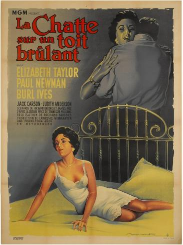 Cat on a Hot Tin Roof, French Movie Poster, 1958 Impressão artística