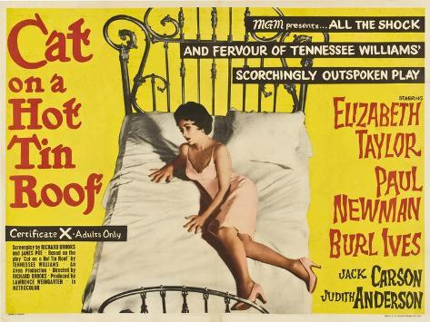 Cat On a Hot Tin Roof, UK Movie Poster, 1958 Art Print