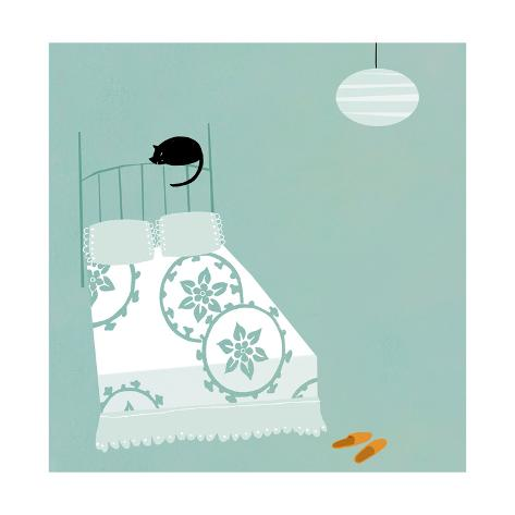 Cat on Bed Art Print