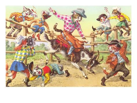 Cat Rodeo Art Print