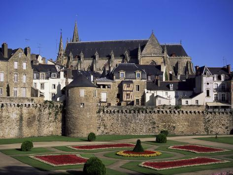Cathedral and Town, Vannes, Brittany, France Photographic Print