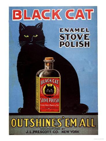 Cats Black Cat Enamel Stove Polish Products, USA, 1920 Giclee Print
