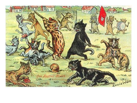 Cats Playing Soccer Art Print