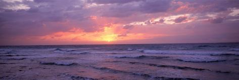 Cayman Islands, Grand Cayman, 7 Mile Beach, Caribbean Sea, Sunset over Waves Photographic Print