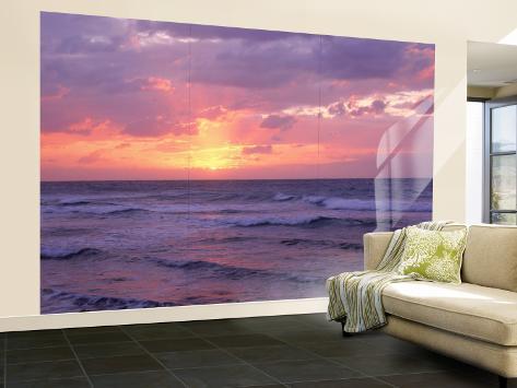 Cayman Islands, Grand Cayman, 7 Mile Beach, Caribbean Sea, Sunset over Waves Wall Mural – Large