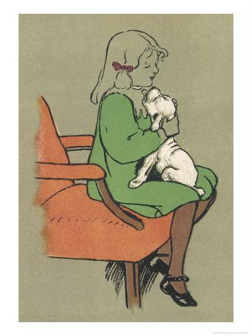 Little Girl is Licked Under the Chin by Her Affectionate White Puppy Giclee Print