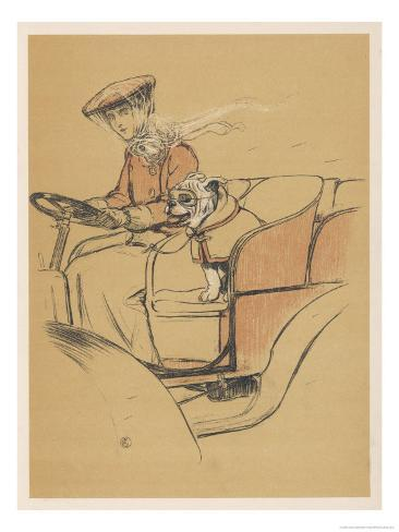 Young Woman and a White Bulldog in an Open Car Giclee Print