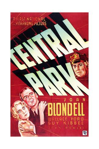 CENTRAL PARK, from left on US poster art: Joan Blondell, Wallace Ford, Guy Kibbee, 1932 Stretched Canvas Print