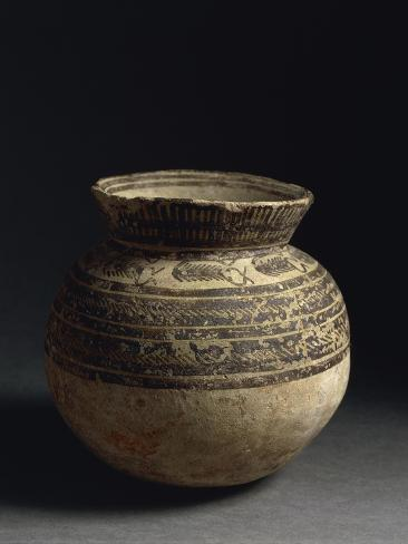 Ceramic Vase Painted With Geometric Pattern From Tell Hassan Late