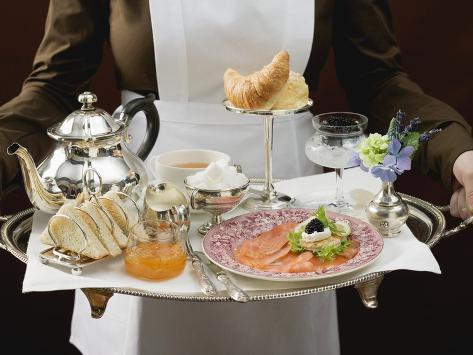 Chambermaid Serving Luxury Breakfast Tray Stretched Canvas Print