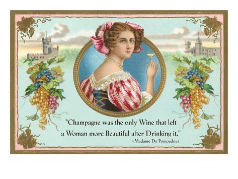 Champagne was the only wine, Motto Art Print