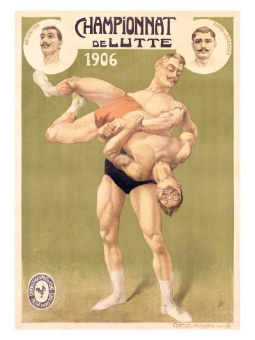 Championnat de Lutte, Professional Wrestling, c.1906 Giclee Print