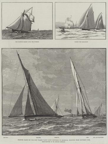 Channel Match of the New Thames Yacht Club, Southend to Harwich, Starting from Southend Pier Stampa giclée