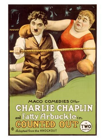 Chaplin Arbuckle Counted Out Giclee Print