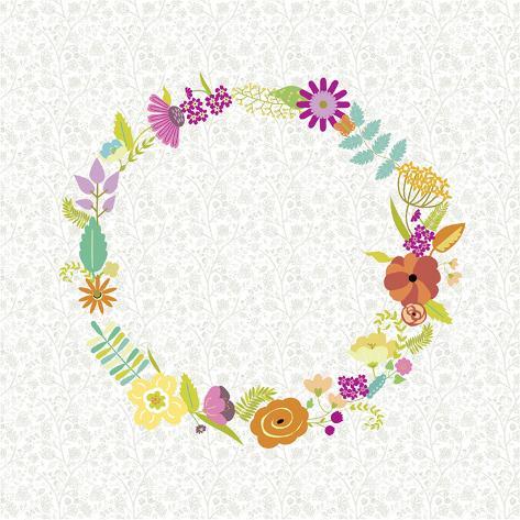 Girly Wreath II Art Print