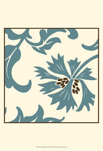 Teal Floral Motif IV Art Print