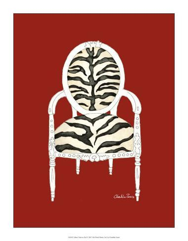 Zebra Chair on Red Giclee Print