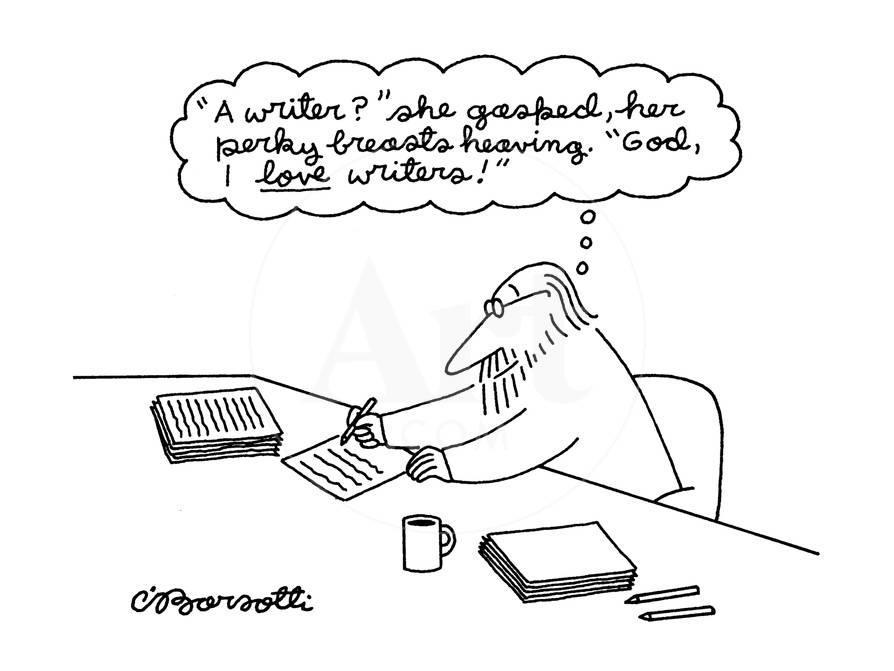 A Man Thinking A Writer She Gasped Her Perky Breasts Heaving God I New Yorker Cartoon Premium Giclee Print Charles Barsotti Allposters Com