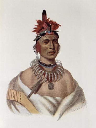 Chon-Ca-Pe, Oto Chief, The Indian Tribes of North America, Vol.1, Mckenney and Hall, Pub.Grant Giclee Print