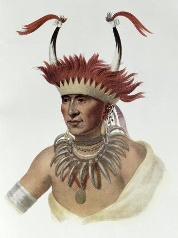L'Ietan, Oto Half-Chief, 1821, The Indian Tribes of North America, Vol.1 Giclee Print