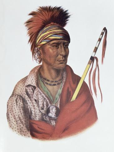 Notchimine, an Iowa Chief, The Indian Tribes of North America, c.1837 Giclee Print