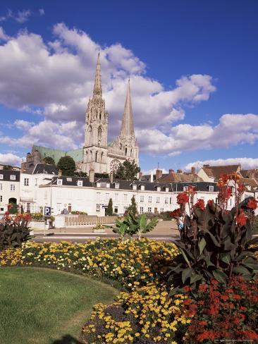 Chartres and Cathedral, Eure-Et-Loir, Centre, France Photographic Print