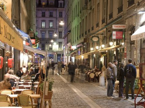 Restaurants on Rue Des Marronniers, Lyon, Rhone, France Photographic Print