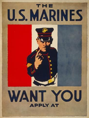 The U.S. Marines Want You, circa 1917 Stampa artistica