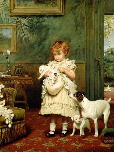 Girl with Dogs, 1893 Giclee Print