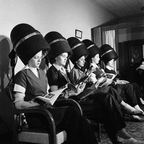 Women Aviation Workers Under Hair Dryers In Beauty Salon North