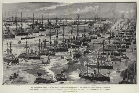 The Great Coronation Naval Display, Bird'S-Eye View of the Fleet Assembled at Spithead Stampa giclée