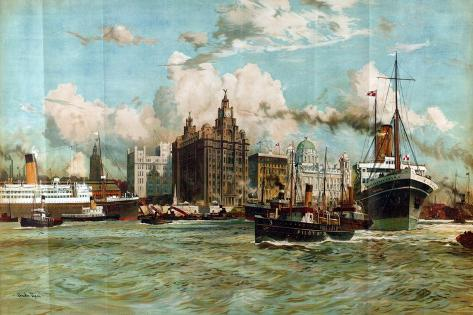 The River Mersey, from the Series 'Western Gateway to the Empire', 1928 Giclee Print