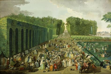Reception for Ambassadors of Tiphoo-Sahib or Tipu Sultan in the Saint-Cloud Park, 18 August 1788 Stretched Canvas Print