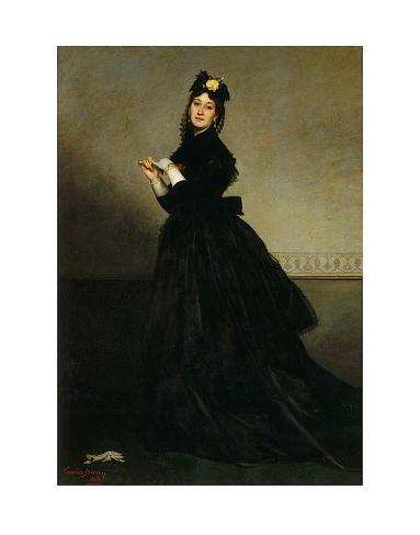Lady with a Glove, Madame Carolus-Duran nee Pauline Croizette, c.1869 Art Print