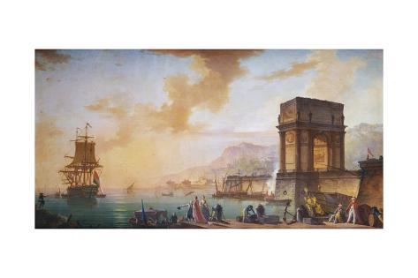 Painting of Morning, a Capriccio of the Embarking of a Ship from Marseille Stretched Canvas Print