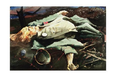 Dead German on the Hitler Line, c.1944 Stretched Canvas Print