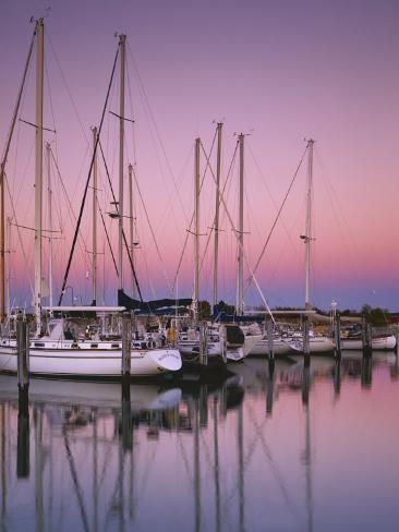 Sailboats at Dusk, Chesapeake Bay, Virginia, USA Photographic Print